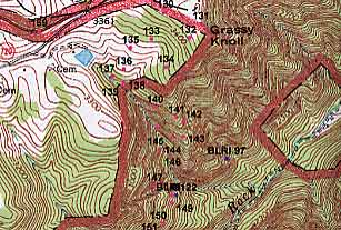 Geological survey topographic map with ground truthing points.