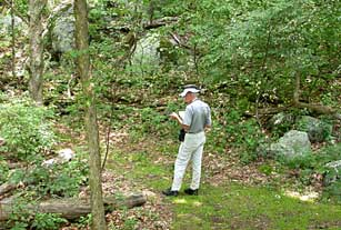 Rick Seavey taking a GPS point on the Harkening Hill Trail, Peaks of Otter, Blue Ridge Parkway.