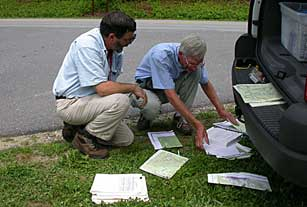 Tom Govus, Nature Serve, and Rick Seavey discussing plant communities beside Blue Ridge Parkway.