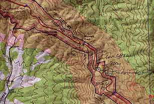 Map created by Blue Ridge Parkway showing park and buffer boundaries as well as mile markers.