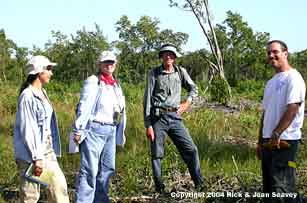 Dr. Carol Horvitz, Rick Seavey and students in Everglades National Park mitigated area.